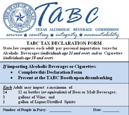 tabc Texas Tax Carnival Alcoholic Declaration Line Cruise Beverage The Commission